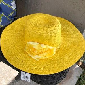 Yellow Hat Woven Beach Floppy Flower
